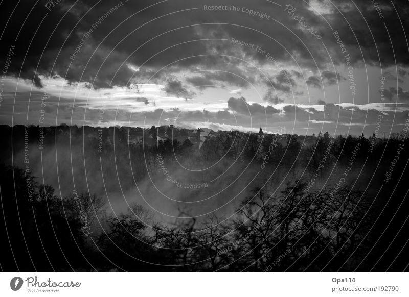 Nebel des Grauens Umwelt Natur Landschaft Luft Himmel Wolken Gewitterwolken Sonnenaufgang Sonnenuntergang Winter Wetter schlechtes Wetter Unwetter Wind Sturm