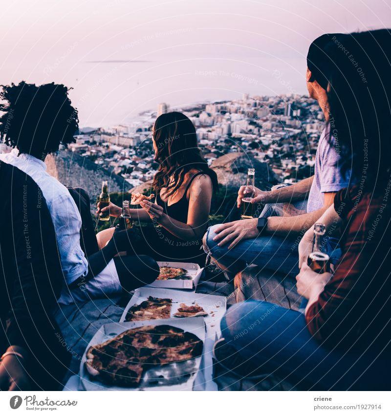 Gruppe junge erwachsene Freunde, die picninc zusammen haben Mensch Jugendliche Stadt Junge Frau Junger Mann Freude 18-30 Jahre Berge u. Gebirge Erwachsene Essen
