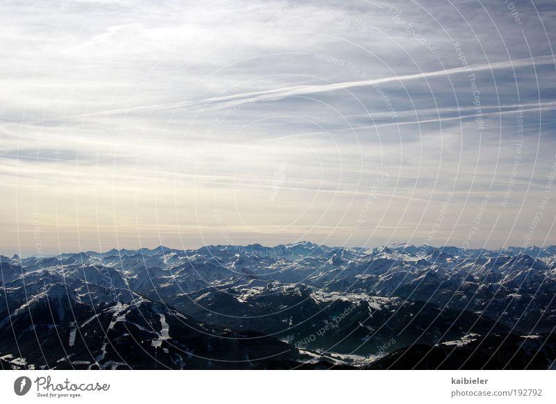 Raue See Winter Skier Natur Landschaft Himmel Wolken Horizont Schnee Alpen Berge u. Gebirge Gipfel Schneebedeckte Gipfel Gletscher Ferne blau Sehnsucht Fernweh
