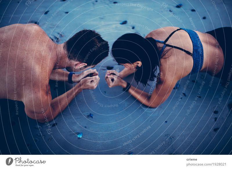 Mensch Frau Jugendliche Mann Strand Erwachsene Lifestyle Sport Glück Paar Sand Zusammensein Fitness sportlich stark Körperpflege