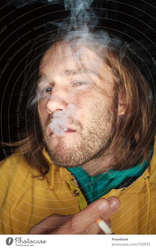 rauchhaus Mensch Jugendliche maskulin Coolness authentisch Rauchen Rauch Bart Tabakwaren trashig Zigarette Abgas atmen langhaarig Verbote