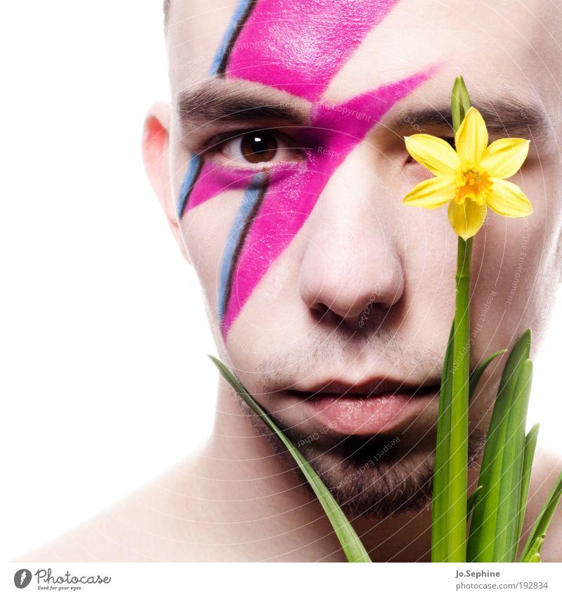 Narzist Mensch Jugendliche Blume Erwachsene gelb Auge Junger Mann Kopf 18-30 Jahre Stil rosa maskulin Lifestyle Bart Blitze Schminke