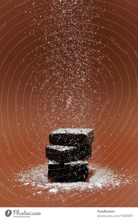 #AS# Schokodingsbums III Kunst ästhetisch Schokolade Schokoladenkuchen Schokoladenstreusel schokobraun Puderzucker 3 lecker Appetit & Hunger Süßwaren Farbfoto