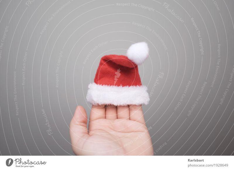 Bald ist wieder ... Lifestyle kaufen Freude Glück Winter Häusliches Leben Dekoration & Verzierung Weihnachten & Advent Mensch Hand Stoff Hut Mütze Erwartung