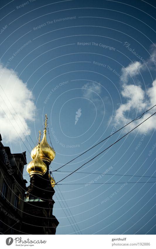 Golden Blue Himmel blau schön Sommer Wolken Architektur Gebäude gold Ausflug Europa Turm Bauwerk Hauptstadt Dänemark Altstadt Ferien & Urlaub & Reisen