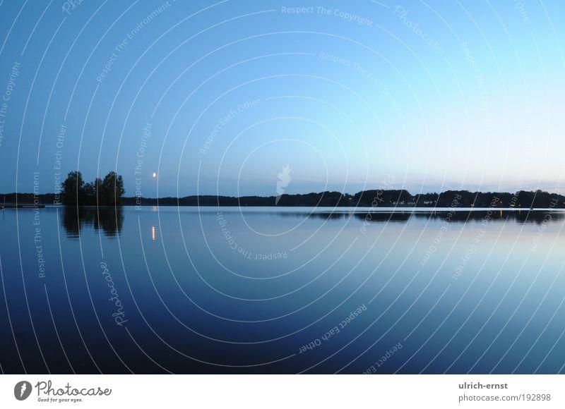 deep blue Natur Landschaft Luft nur Himmel Nachthimmel Sonnenaufgang Sonnenuntergang Mond Sommer Schönes Wetter Seeufer Wasser atmen fantastisch blau