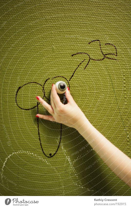 Nur eine weitere Phallussymbolik. grün Hand Auge Graffiti Design maskulin Dekoration & Verzierung verrückt Arme Sex Zeichen Schulgebäude Wachsamkeit Schüler