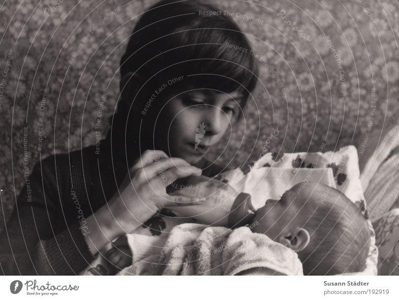 ich pass auf dich auf! Mädchen ruhig Liebe Leben Glück Familie & Verwandtschaft Baby Kraft Lebensmittel Kommunizieren liegen Warmherzigkeit leuchten DDR Flasche Verpackung