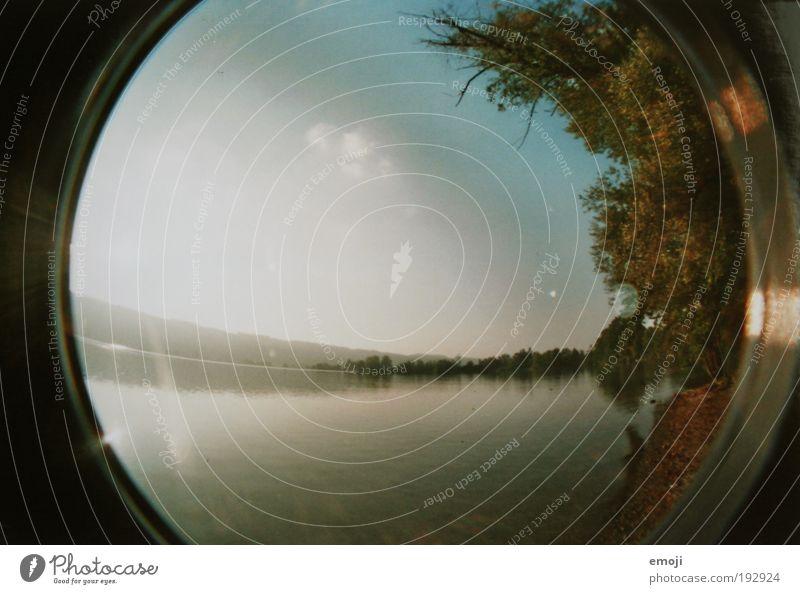 See Natur Wasser Baum Sommer Herbst Wärme Freizeit & Hobby Seeufer analog Fischauge