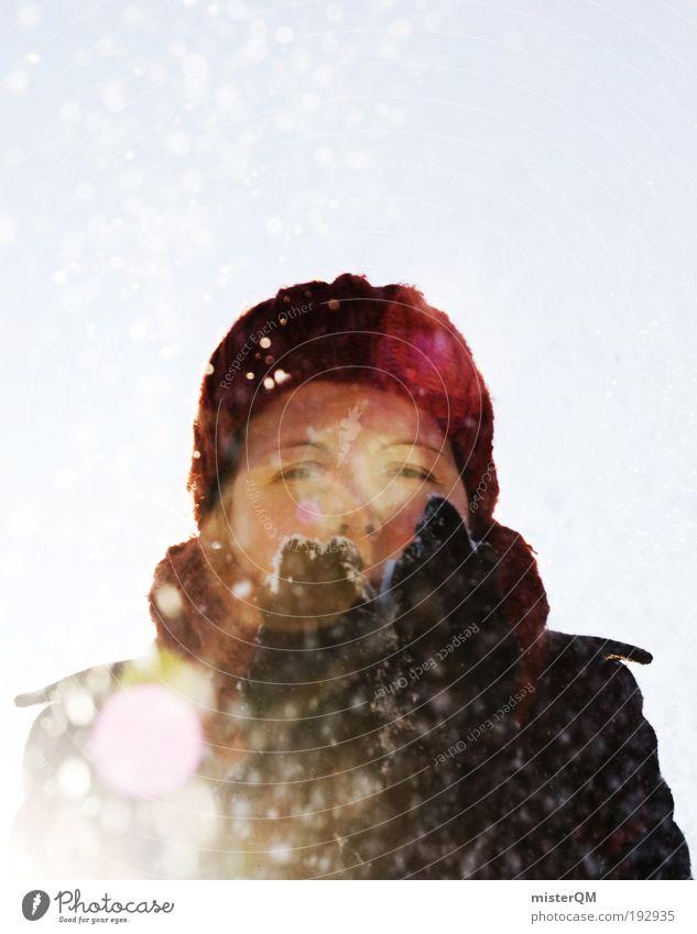 Schneefrau. Frau Jugendliche rot Freude Winter kalt Leben Feste & Feiern Schneefall Schönes Wetter ästhetisch Wunsch Jahreszeiten Mütze blasen Wintersport