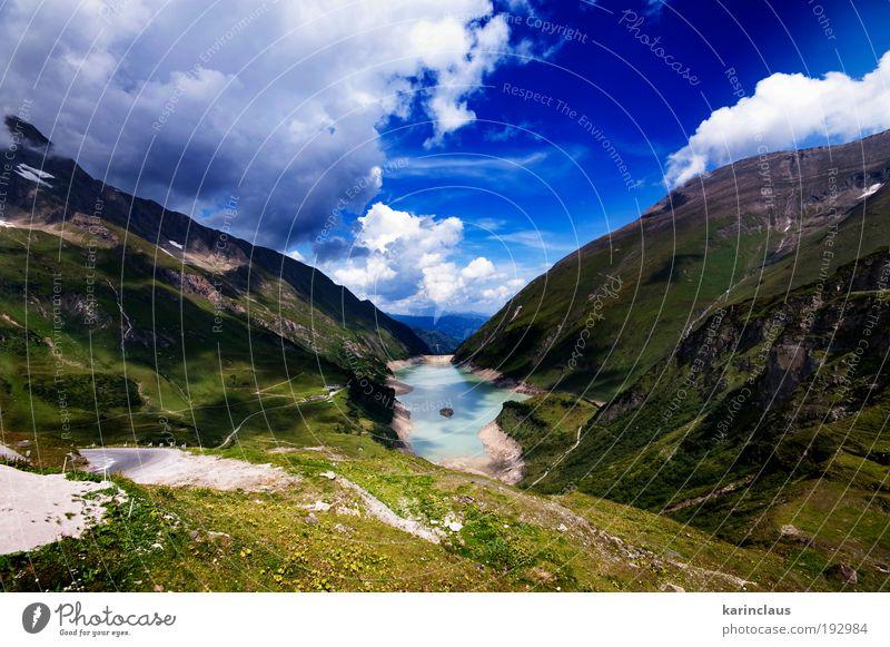 Natur Wasser grün blau Sommer Ferien & Urlaub & Reisen Wolken Berge u. Gebirge Landschaft Umwelt Stein See Wetter Horizont Tourismus Klima
