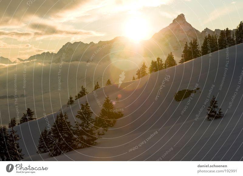 ob ihr wollt oder nicht Ferien & Urlaub & Reisen Winter Schnee Winterurlaub Berge u. Gebirge Landschaft Eis Frost Alpen Gipfel Schneebedeckte Gipfel hell