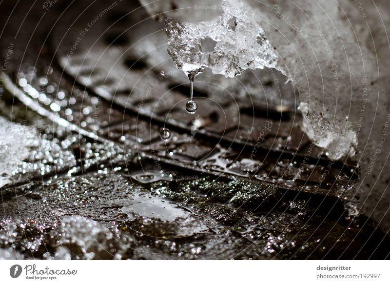Manches Ende ist ein Anfang Wasser Wassertropfen Winter Klima Wetter Schönes Wetter Eis Frost Schnee Gully kalt nass Wärme Lebensfreude Frühlingsgefühle