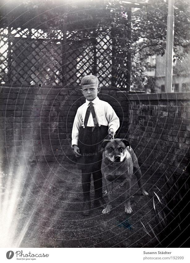 Junge mit Hund 1928 Kind alt Tier Wiese Garten blond Ordnung beobachten Neugier Kindheit Laterne Wildtier niedlich Haustier