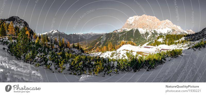 panoramic - ehtwand and zugspitze - austria Himmel Natur Ferien & Urlaub & Reisen Pflanze Baum Landschaft Erholung Einsamkeit ruhig Freude Ferne Winter Wald