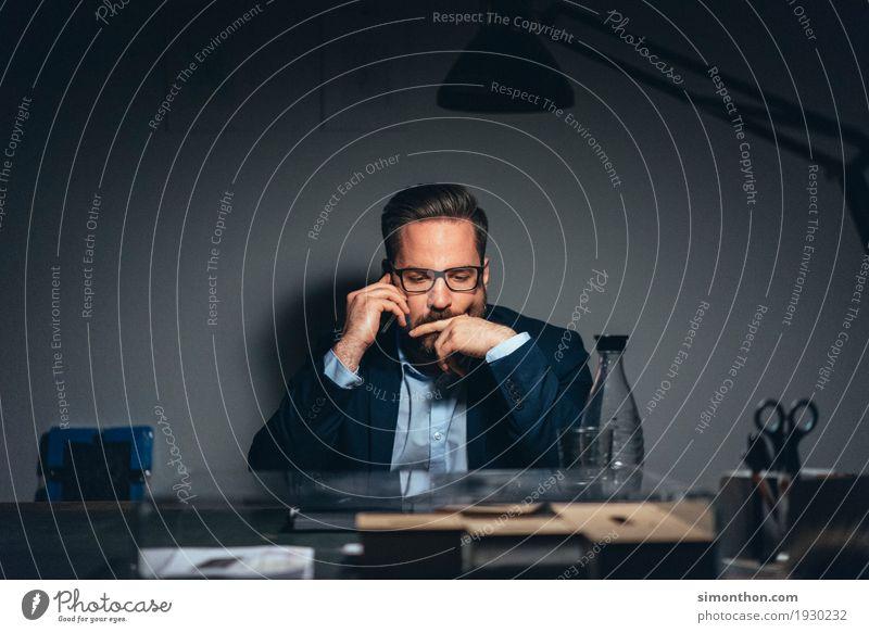 Job Mensch Business Arbeit & Erwerbstätigkeit maskulin Büro Ordnung Erfolg Telekommunikation Perspektive lernen planen Macht Telefon Beruf Handy Stress