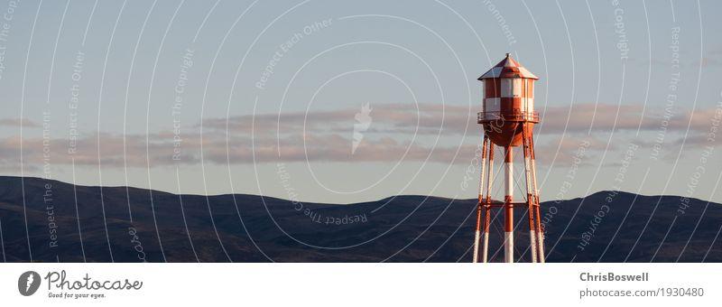 Rot Weiß kariert Wasserturm Berg Hintergrund Industrie Umwelt Landschaft Himmel Bauwerk Architektur Container Metall Stahl blau Turm industriell Tank Stausee