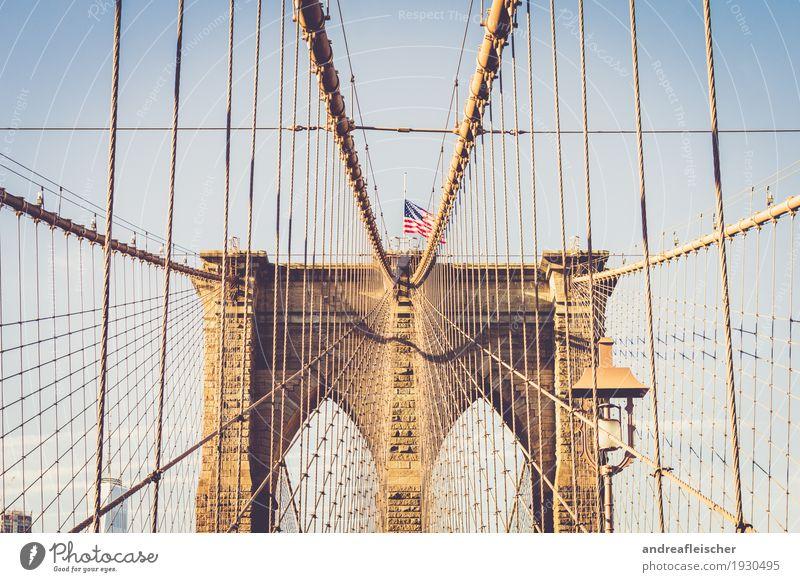 Brooklyn Bridge Ferien & Urlaub & Reisen Sommer Stadt Freude Winter Ferne Architektur Glück Freiheit Stein Tourismus Linie Ausflug Kultur Brücke Bauwerk