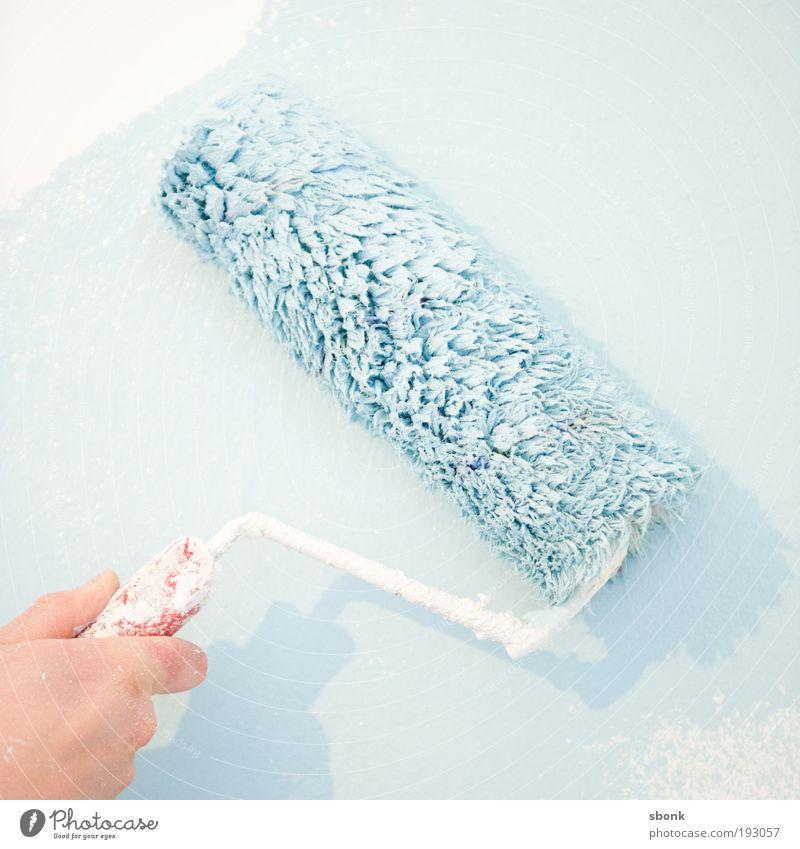 paintspread Anstreicher Design malen streichen Farbstoff Farbrolle Pinsel Farbfleck Renovieren Wand Farbe blau babyblau Arbeit & Erwerbstätigkeit Farbfoto