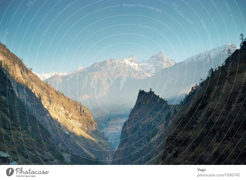 Landschaft des tibetanischen Berges mit Himmel Natur Ferien & Urlaub & Reisen blau grün weiß Baum Berge u. Gebirge schwarz Umwelt gelb Schnee Gras braun