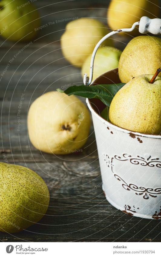Natur alt Sommer Farbe grün gelb Herbst natürlich Holz Lebensmittel grau Frucht Ernährung frisch retro Tisch