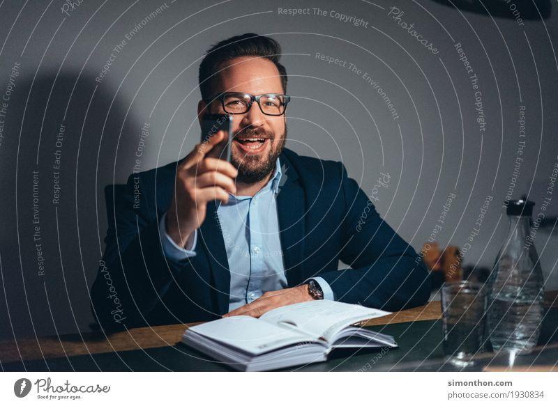 Business Mensch Freude sprechen Lifestyle Stil Glück maskulin Zufriedenheit Büro Erfolg Telekommunikation Zukunft lernen Geld Ziel