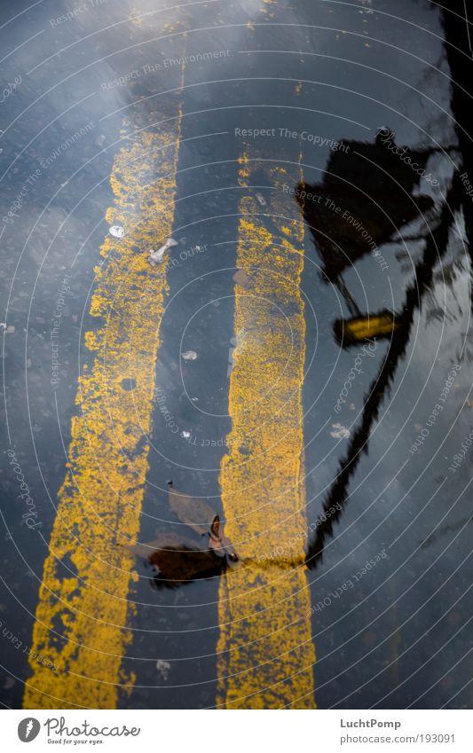 Nass Wolken gelb Lampe dunkel Stimmung dreckig Schilder & Markierungen ästhetisch Boden Bodenbelag Asphalt Streifen Laterne Hinweisschild Reflexion & Spiegelung Pfütze