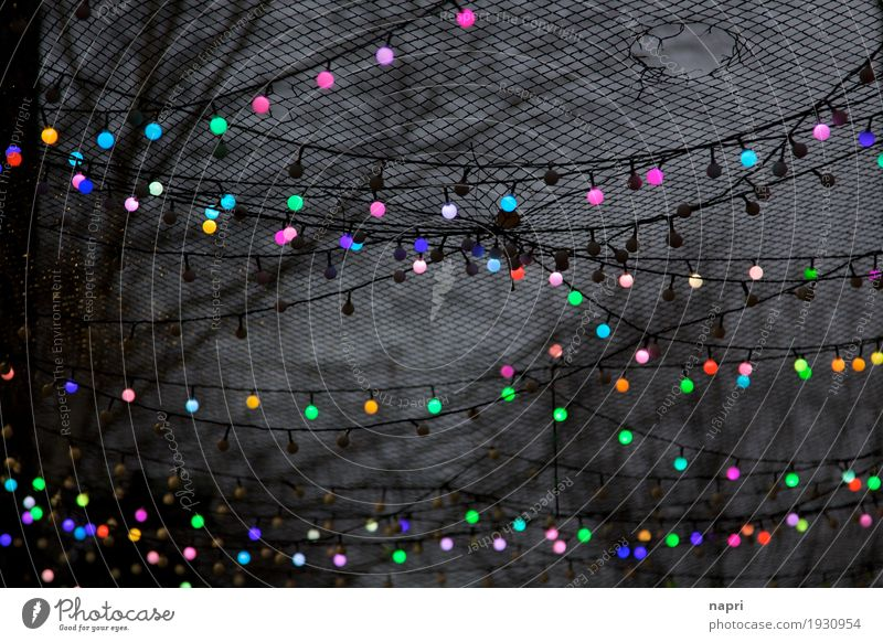 Lichtpunkte Stadt dunkel schwarz Leben Beleuchtung Stimmung oben Dekoration & Verzierung Netzwerk Nachtleben unordentlich Lichterkette