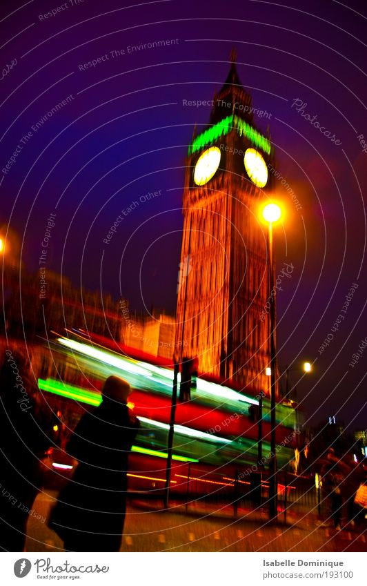 Big Ben Ferien & Urlaub & Reisen Sightseeing Städtereise London England Turm Sehenswürdigkeit gigantisch historisch Bewegung Farbe Perspektive Farbfoto Nacht