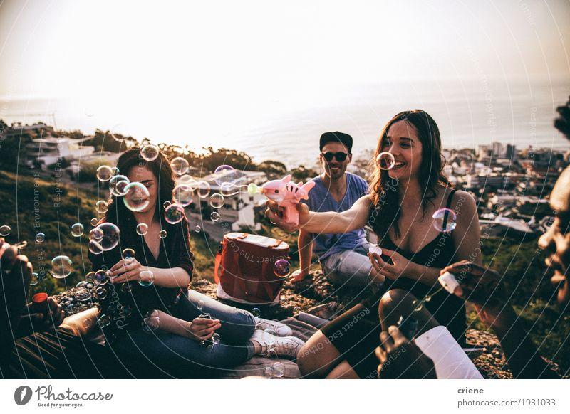Gruppe Freunde, die Schlagblasen des Spaßes am picninc haben Lifestyle Freude Sommer Party Veranstaltung trinken Mensch Junge Frau Jugendliche Junger Mann