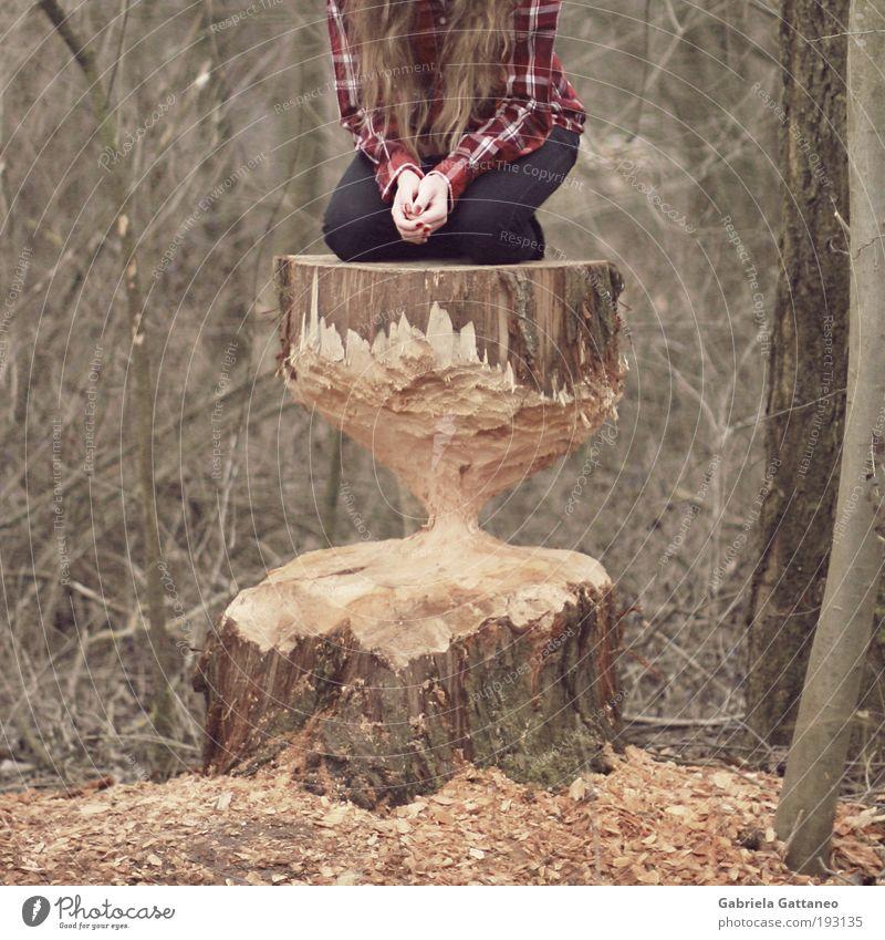 eat it up. eat me up. Mensch Baum Hand ruhig Umwelt feminin Gefühle Angst gefährlich bedrohlich Uhr Hemd Baumstamm langhaarig stagnierend hocken