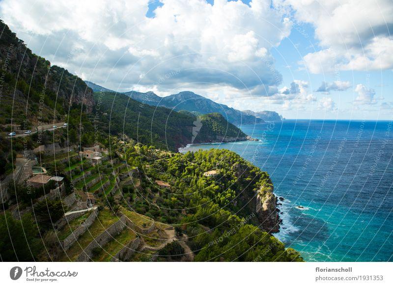 Serra de Tramuntana, Coast line, Palma de Majorca Himmel Natur Ferien & Urlaub & Reisen Pflanze blau grün weiß Baum Wolken Küste Gras See wandern Klima