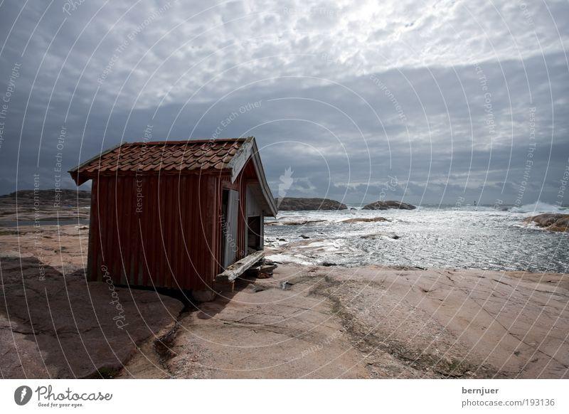 beach villa Natur Wasser Meer Sommer Strand Haus Wolken grau Stein Gebäude Landschaft Wellen Küste Architektur