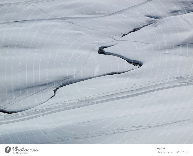 wetterprognose: schnee Wintersport weiß Bach Schlangenlinie Spuren Loipe Schneedecke rein Fußweg Winterurlaub Winterstimmung Wintertag Schneelandschaft Linie