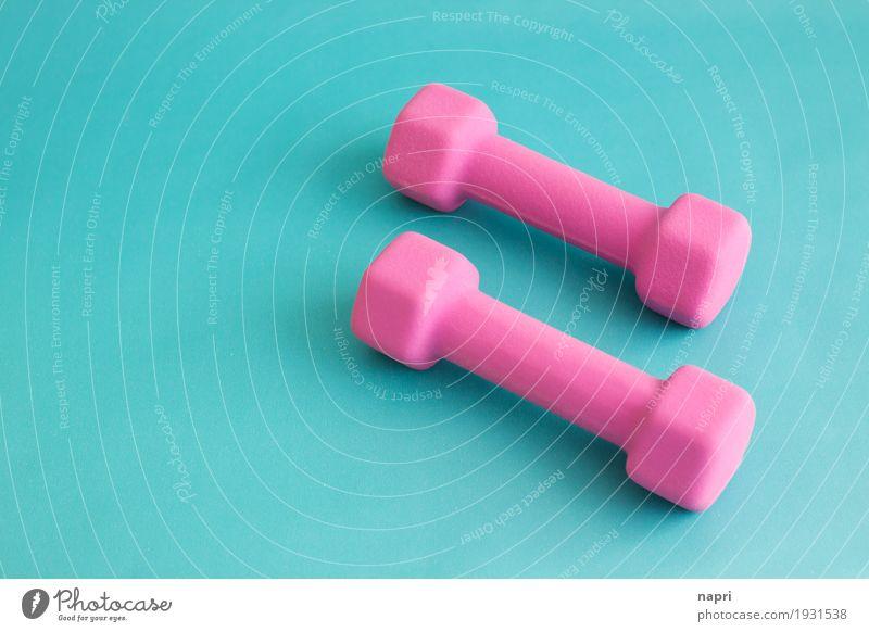 Gute Vorsätze Bewegung Sport Gesundheit rosa Beginn Fitness sportlich türkis Sport-Training Diät anstrengen Willensstärke Ausdauer Leistung Hantel