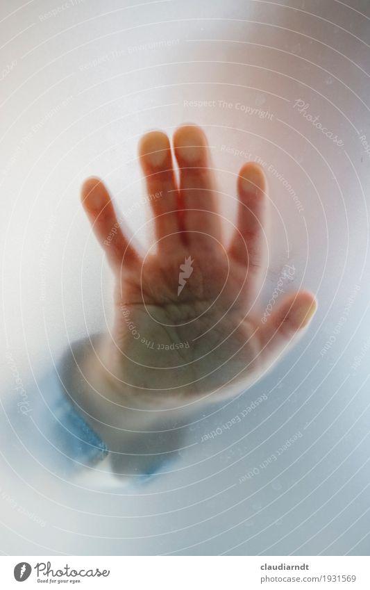 Kontaktaufnahme Mensch Kind Kleinkind Hand Finger 1 1-3 Jahre berühren Kommunizieren Spielen klein Freude Vertrauen Sympathie Neugier Glaube träumen Milchglas