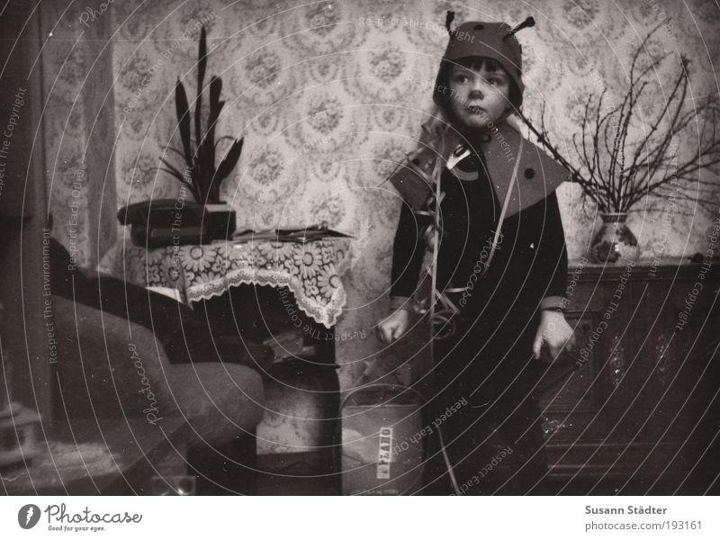 ich bin ein Motschekiebchen Kind Junge Traurigkeit Kindheit Angst Sträucher niedlich Karneval Mütze Hut Tapete Wohnzimmer DDR Marienkäfer Karnevalskostüm Kostüm