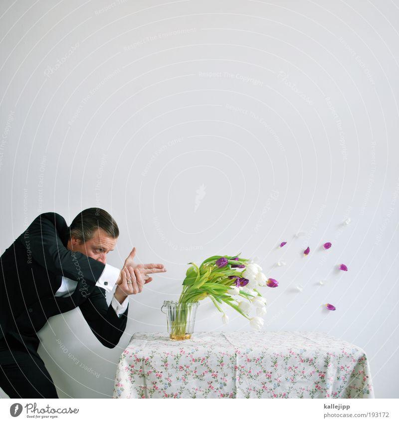 blattschuss Mensch maskulin Mann Erwachsene Hand 1 Wind Sturm Blume Tulpe Anzug Haare & Frisuren Ziel Zukunft Pistole waffe Schußwaffen zielen focus Visier