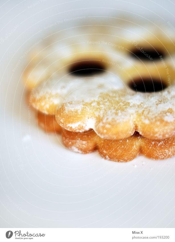 Zambickerl Lebensmittel Teigwaren Backwaren Süßwaren Marmelade Ernährung lecker süß Puderzucker Plätzchen Keks linzer augen Freisteller Farbfoto mehrfarbig