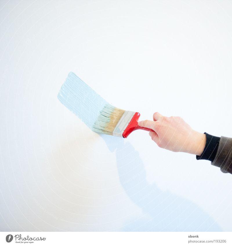 spreadpaint Anstreicher streichen blau rot Pinsel Pinselstrich Farbstoff malen Wand Farbfoto Innenaufnahme