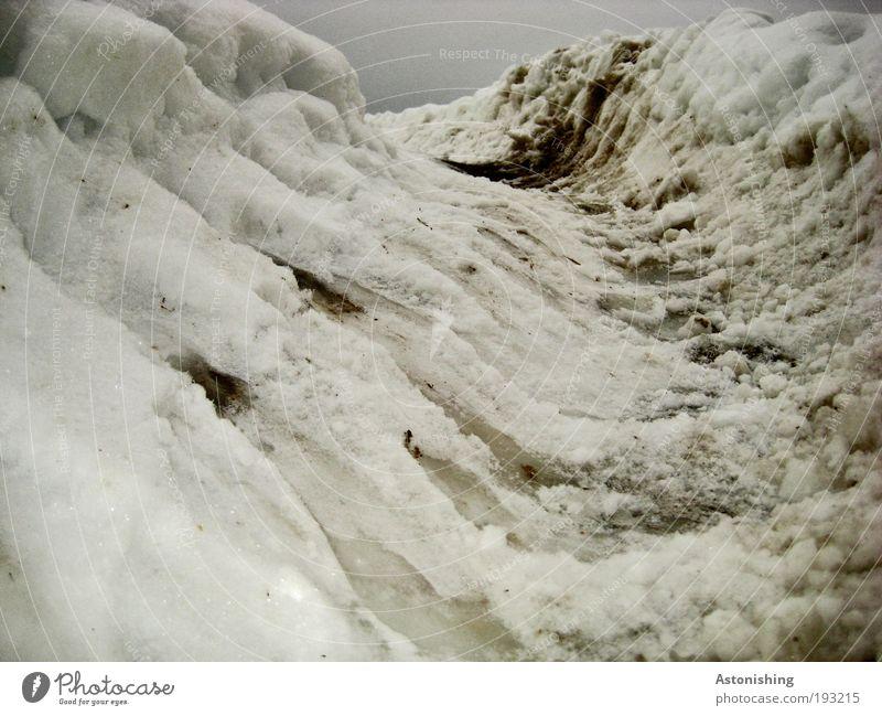 in der Spur Umwelt Natur Landschaft Erde Wasser Himmel Wolken Winter Klima Wetter schlechtes Wetter Eis Frost Schnee kalt braun grau schwarz weiß Spuren