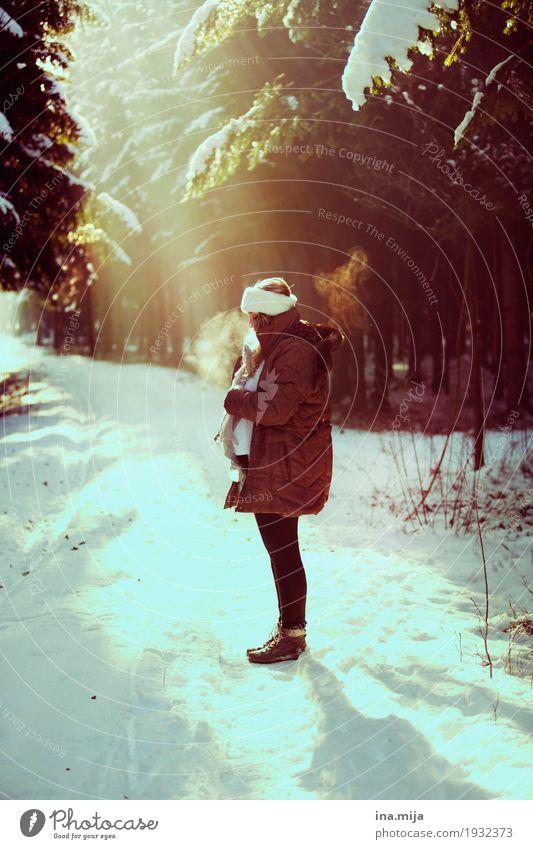 <3 Mensch feminin Eltern Erwachsene Mutter Leben 1 2 0-12 Monate Baby 18-30 Jahre Jugendliche 30-45 Jahre Umwelt Natur Winter Schönes Wetter Schnee Wald Mantel