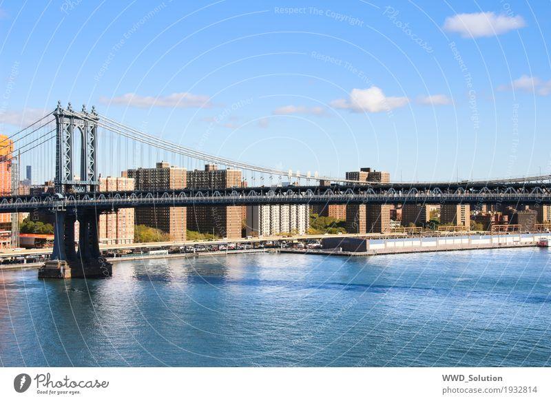 Manhattan Bridge New York City Amerika Stadt Skyline Brücke Sehenswürdigkeit Kultur Farbfoto Außenaufnahme Menschenleer Großstadt Hängebrücke Fluss East River