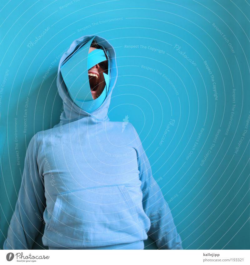 blaues blut Diskjockey Karneval Mensch maskulin Mann Erwachsene Kopf Mund Lippen Zähne 1 Pullover schreien außergewöhnlich bedrohlich Angst Entsetzen Todesangst