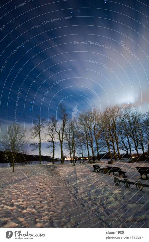Nachts am Schloß Kunst Natur Himmel Wolken Stern Mond Winter Wetter Eis Frost Schnee Baum Park schön weich blau grau weiß Umwelt Farbfoto Außenaufnahme