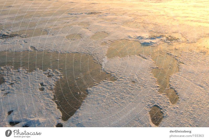 rutschige Fantasiewelt Natur Wasser weiß Sonne Winter gelb kalt Schnee See Eis glänzend gold Frost gefroren Glätte Kontinente