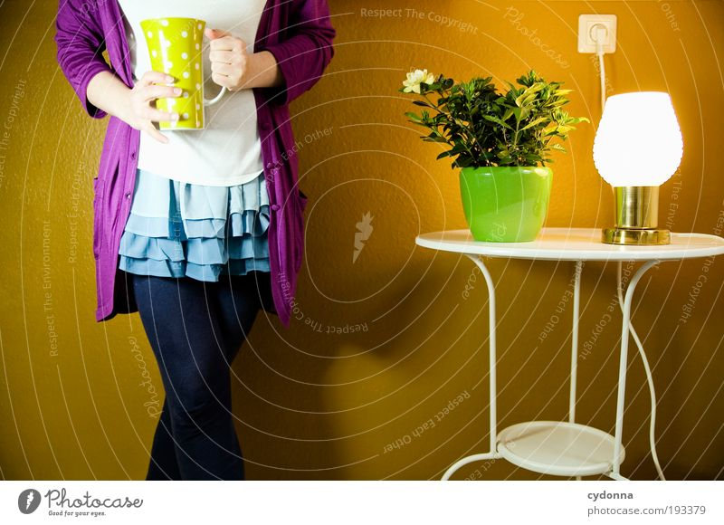 Teatime Frau Mensch Jugendliche schön Erwachsene Erholung Leben Freiheit Stil Lampe Gesundheit Zufriedenheit Zeit Raum elegant Wohnung