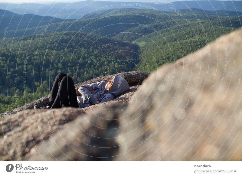 auf dem Gipfel des Berges Lifestyle Ferien & Urlaub & Reisen Tourismus Ausflug Abenteuer Freiheit Sommer Sommerurlaub Sonnenbad Berge u. Gebirge wandern 1