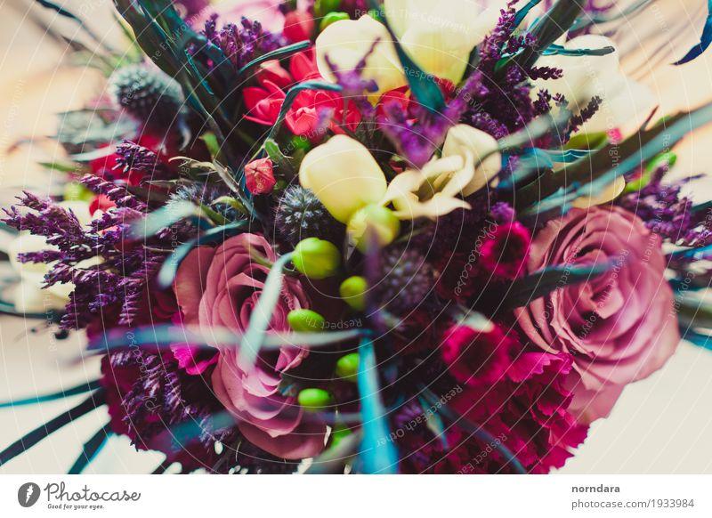 bunter Strauß Valentinstag Hochzeit Blume Gras Rose Blatt Blüte Partnerschaft Blumenstrauß Liebe Farbfoto mehrfarbig