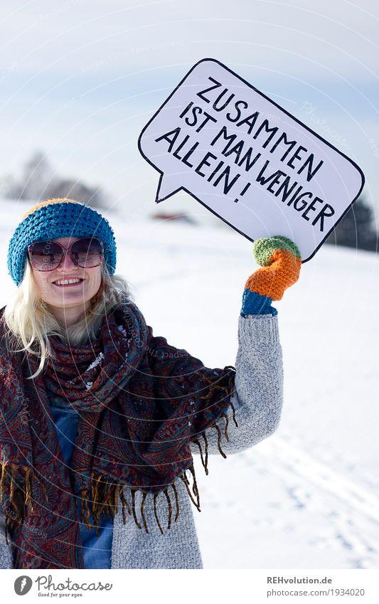 Jule | Zusammen ist man weniger allein Mensch Jugendliche Freude Winter 18-30 Jahre Gesicht Erwachsene Umwelt Liebe feminin Glück außergewöhnlich Kopf